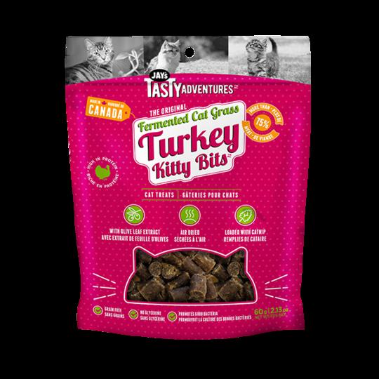 Jay's Tasty Adventures Fermented Grass Turkey Kitty Bits Cat Treats, 60-gram