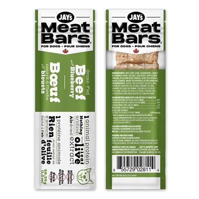 Jay's Meat Bars Grass-Fed Beef & Blueberry Dog Treats, 28.35-gram