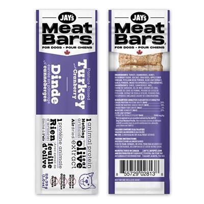 Jay's Meat Bars Pasture Raised Turkey & Cranberry Dog Treats, 28.35-gram