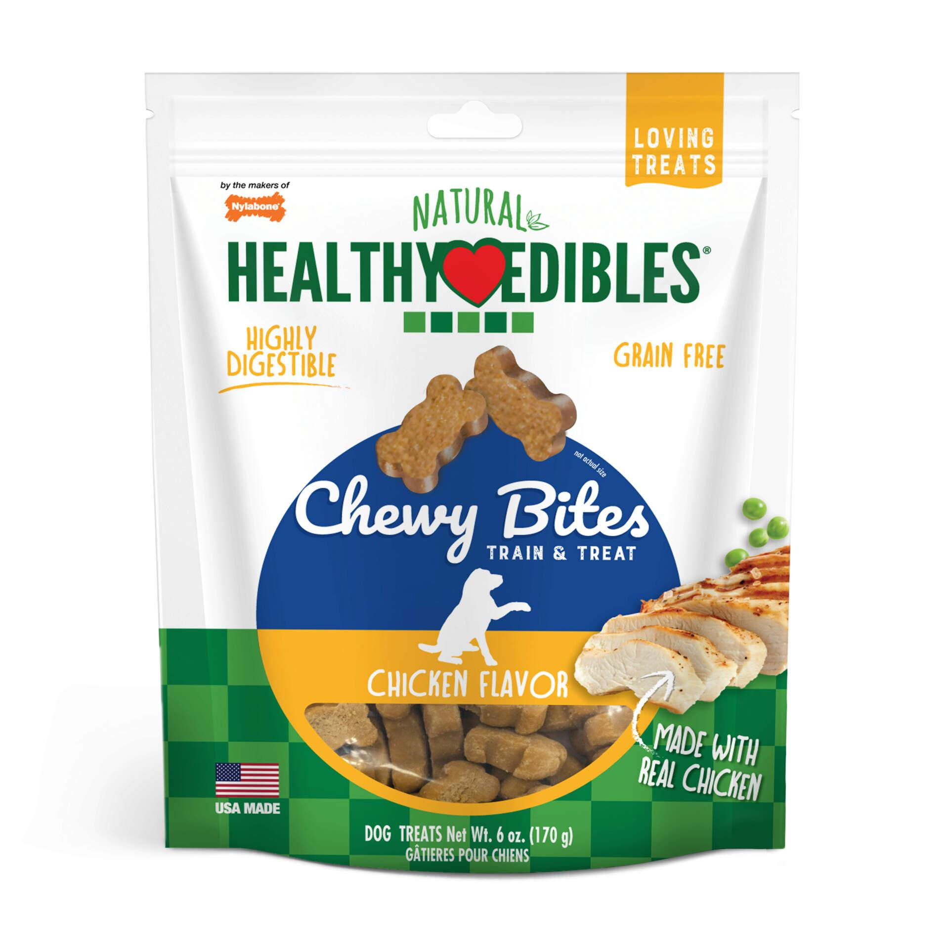 Nylabone Healthy Edibles Chewy Bites Chicken Dog Treats, 6-oz