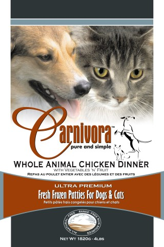 Carnivora Chicken Dinner Frozen Cat & Dog Food, 25-lb