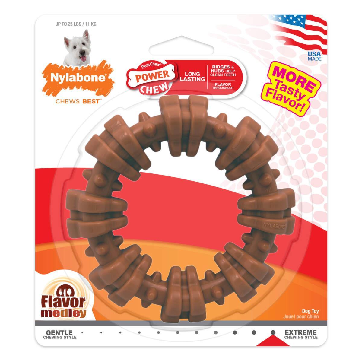 Nylabone Power Chew Textured Ring Medley Flavored Dog Toy, Regular