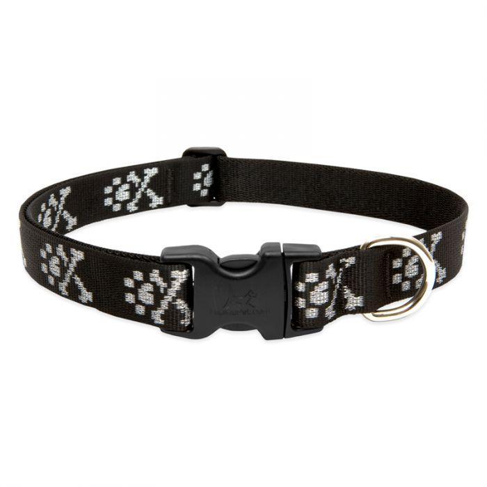 Lupine Pet Original Designs Adjustable Dog Collar, Bling Bonz, 1-in x 16-28-in