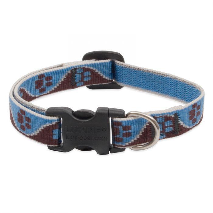 Lupine Pet Original Designs Adjustable Dog Collar, Muddy Paws, 1/2-in x 8-12-in