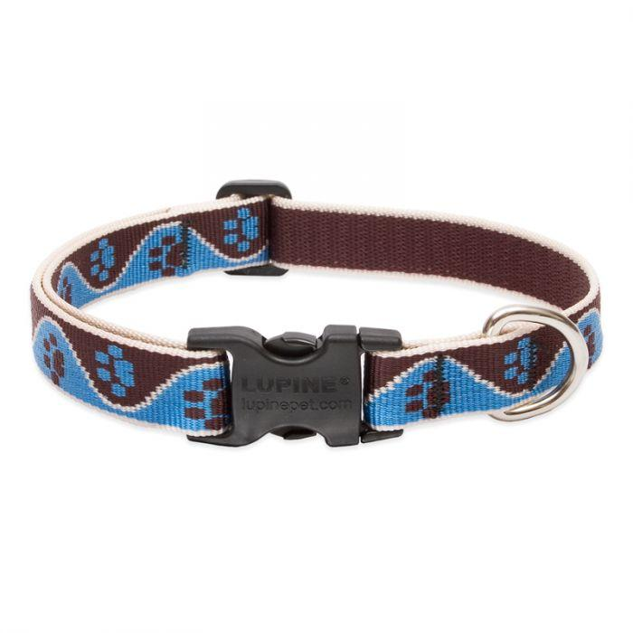 Lupine Pet Original Designs Adjustable Dog Collar, Muddy Paws, 3/4-in x 13-22-in