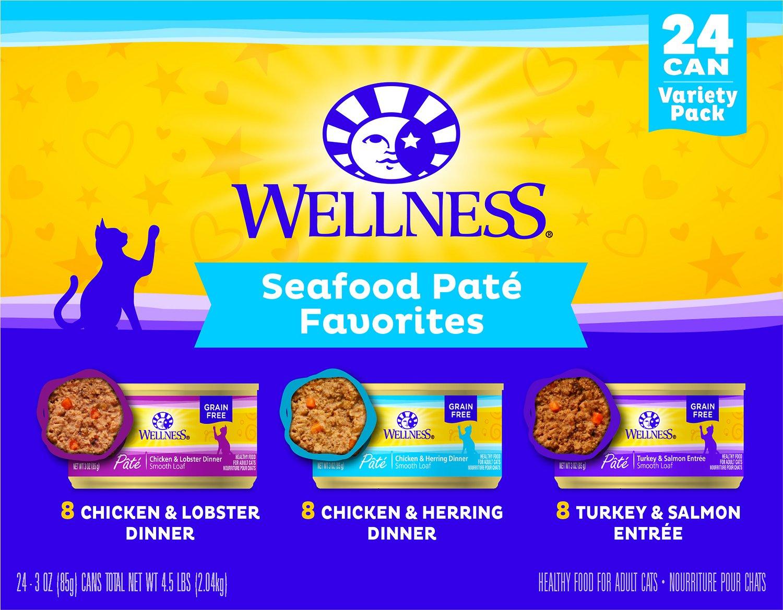 Wellness Complete Health Seafood Pate Favorites Variety Pack Cat Food, 3-oz, 12-pack