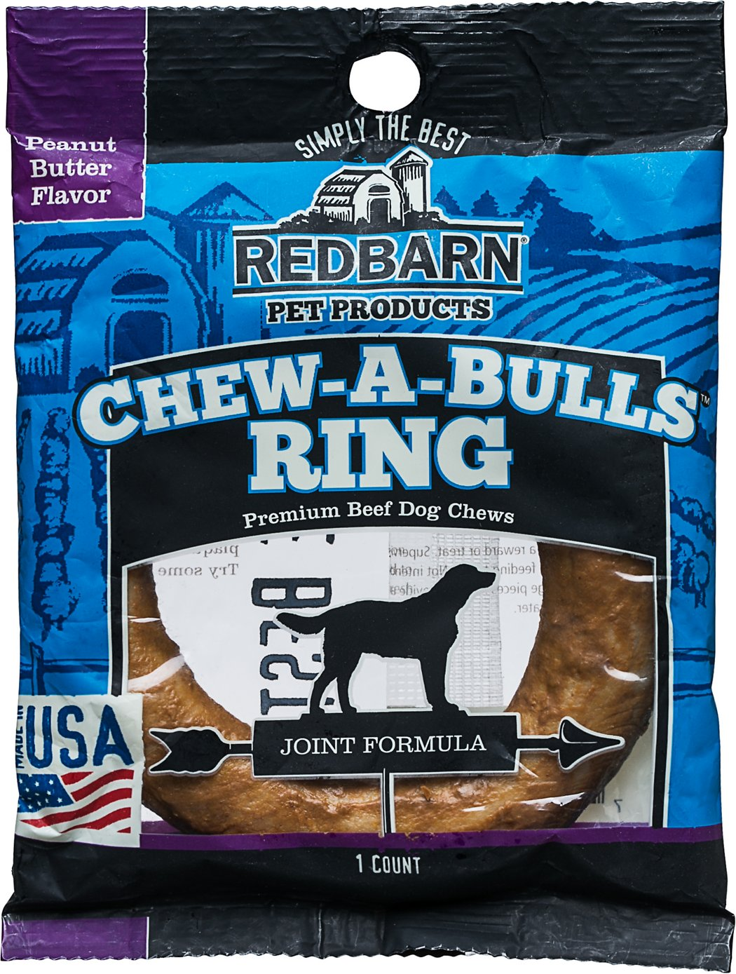 Redbarn Peanut Butter Flavor Joint Formula Chew-A-Bulls Ring Dog Treat, 1-count