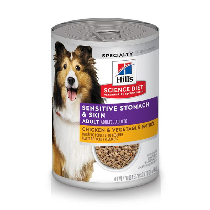 Hill's Science Diet Adult Sensitive Stomach & Skin Grain-Free chicken & Vegetable Entree Canned Dog Food, 12.8-oz