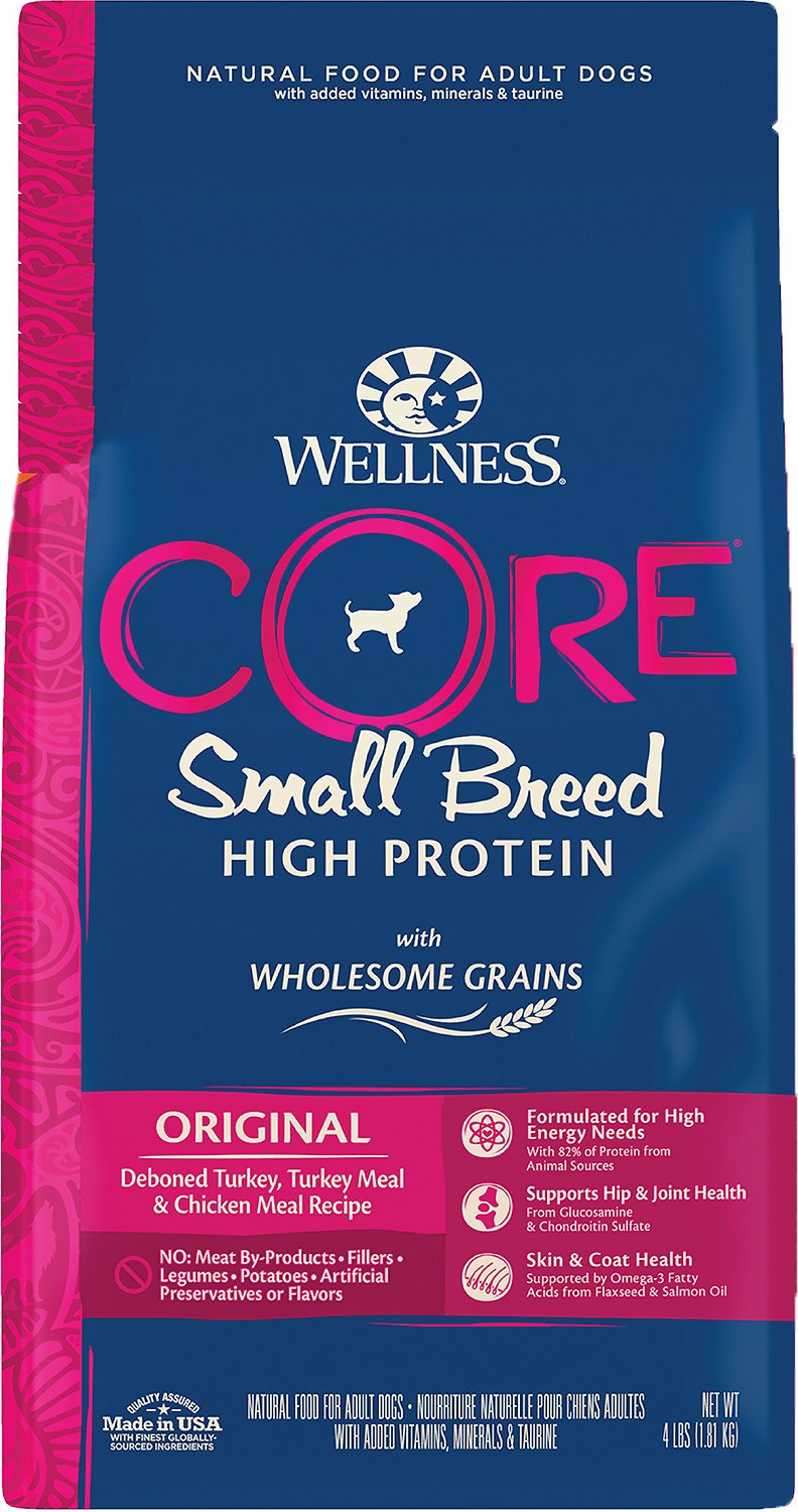 Wellness CORE Wholesome Grains High Protein Original Small Breed Dry Dog Food, 4-lb