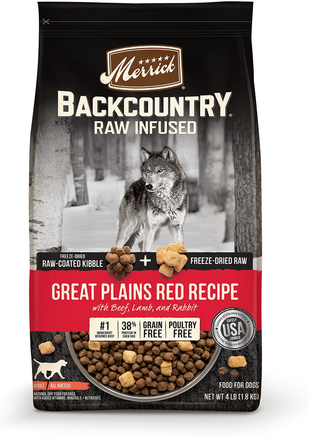 Merrick Backcountry Raw Infused Great Plains Red Recipe with Beef, Lamb & Rabbit Grain-Free Dry Dog Food,10-lb