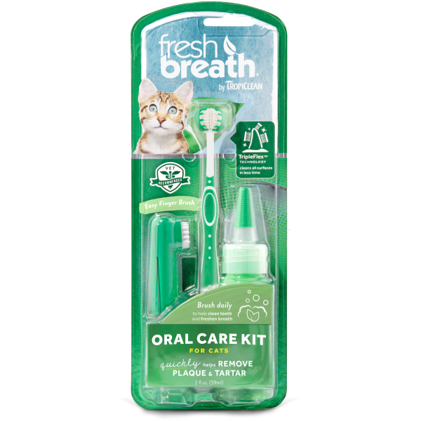 TropiClean Fresh Breath Oral Care Brushing Kit for Cats, 2-oz