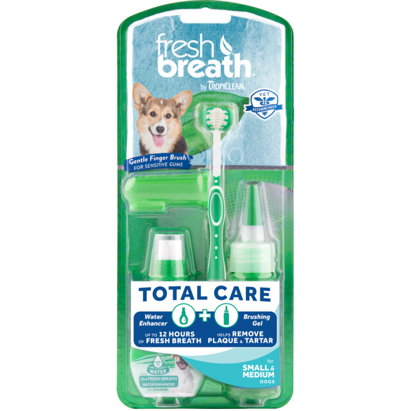 TropiClean Fresh Breath Total Care Brushing Kit for Dogs, Small/Medium, 2-oz (Size: 2-oz) Image