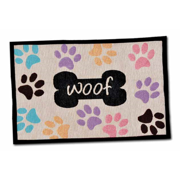 Bella Fashion Mats Woof with Multi Paws Dog Mat