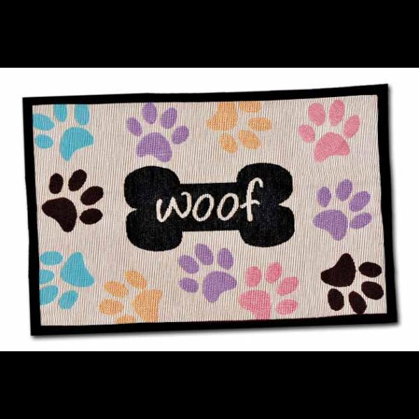 Bella Fashion Mats Woof with Multi Paws Dog Mat Image