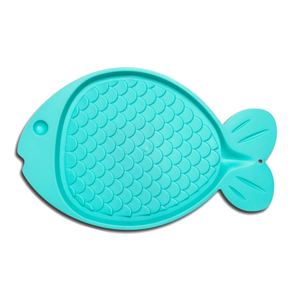 Bella Spill Proof Fish Shaped Cat Mat, Green Image