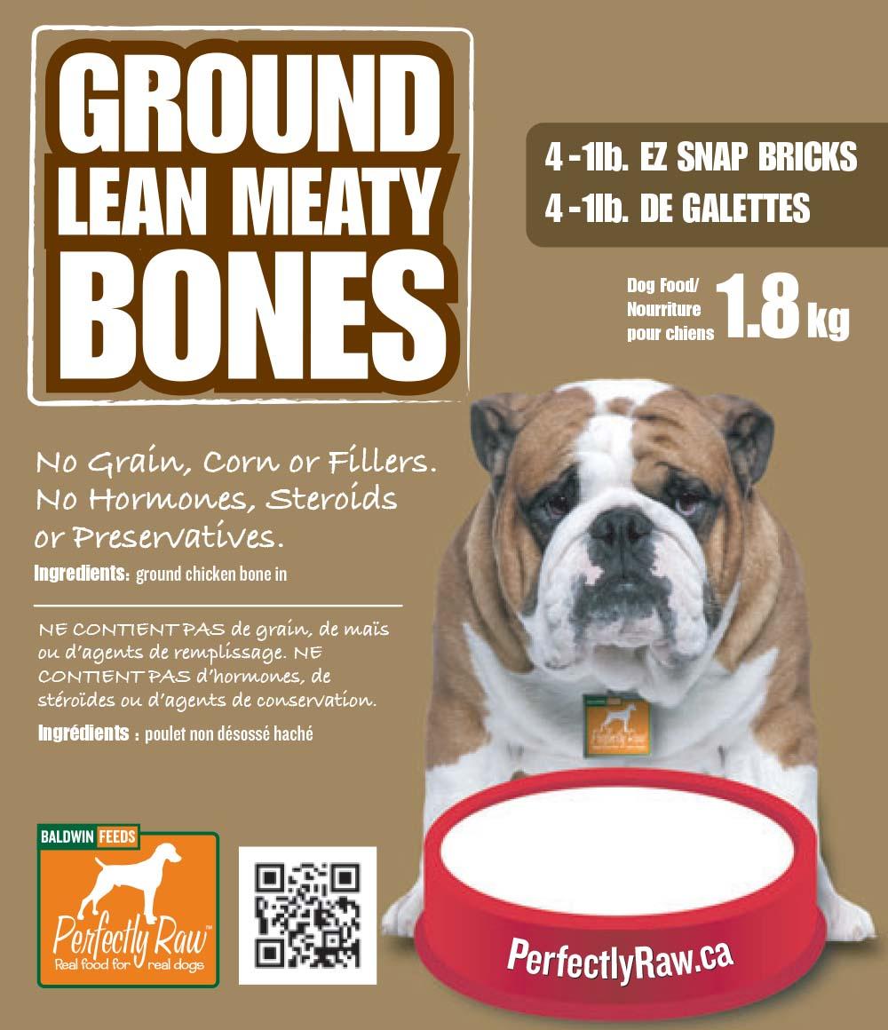 Perfectly Raw Ground Lean Meaty Bones Frozen Dog Food, 4-lb