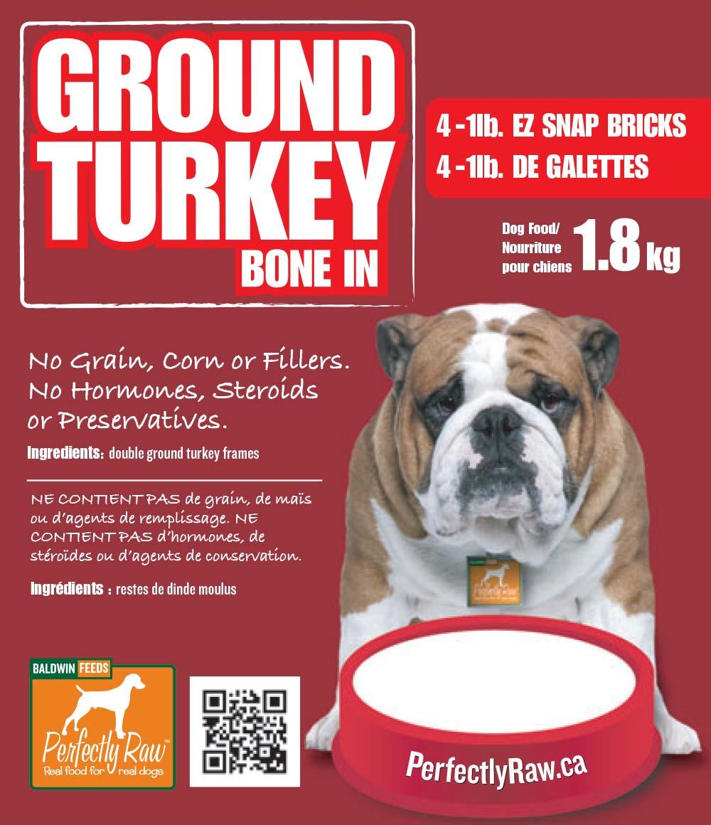 Perfectly Raw Ground Turkey Bone In Frozen Dog Food, 32-lb, 16x2