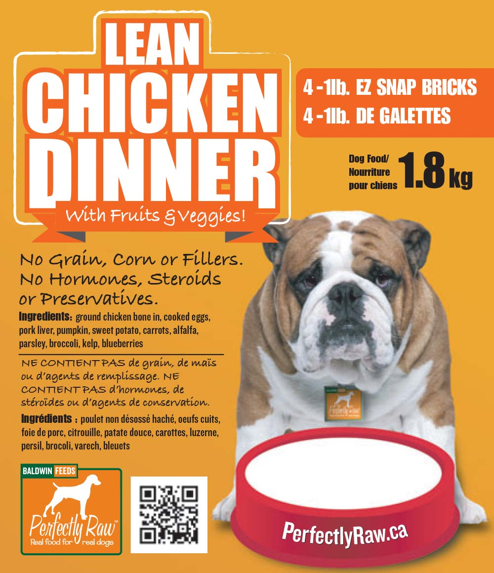 Perfectly Raw Lean Chicken Dinner Frozen Dog Food, 4-lb