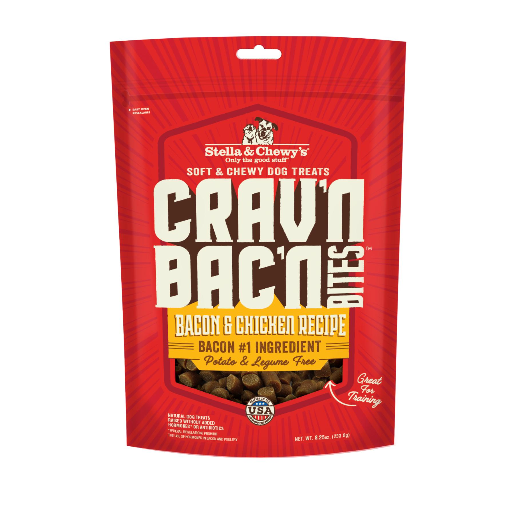 Stella & Chewy's Crav'n Bac'n Bites Bacon & Chicken Recipe Dog Treats, 8.25-oz