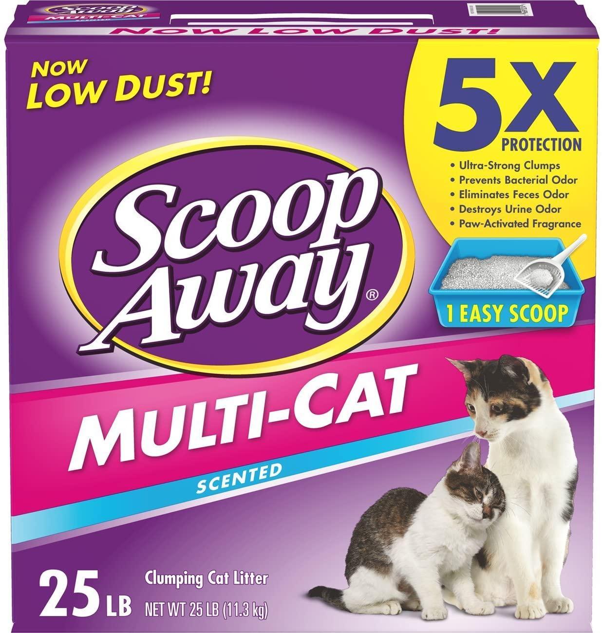 Scoop Away Multi-Cat Scented Cat Litter, 25-lb