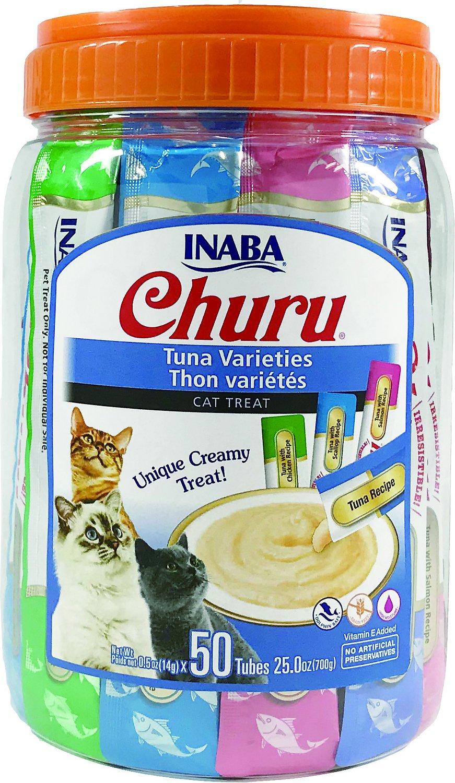Inaba Churu Puree Tuna Tubes, 50-Pack