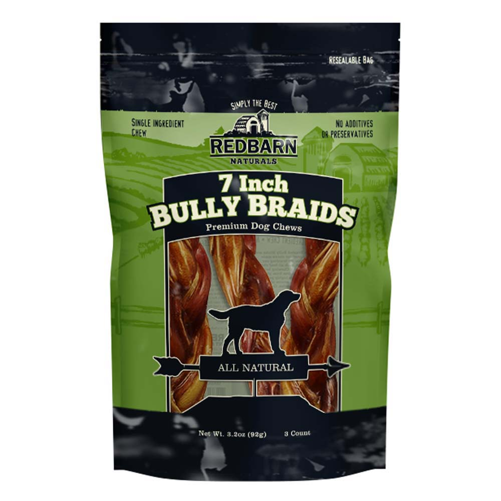 "Redbarn Naturals Braided Bully Sticks 7"" Dog Treats, 3 Count (Size: 2.0oz/56g) Image"