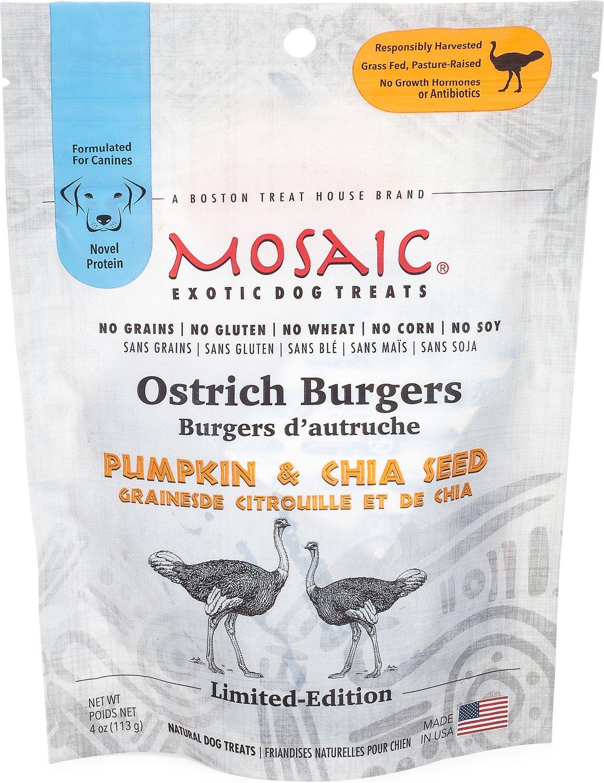 Mosaic Burgers Dog Treats, Ostrich, Banana Image