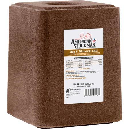 American Stockman Trace Big 6 Mineral Salt Block Livestock Supplement, 50-lb
