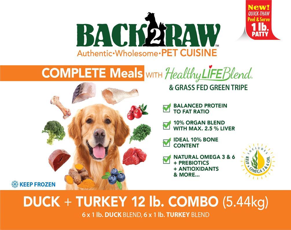 Back2Raw Complete Combo Meals Duck Blend & Turkey Blend Frozen Dog Food, 12-lb