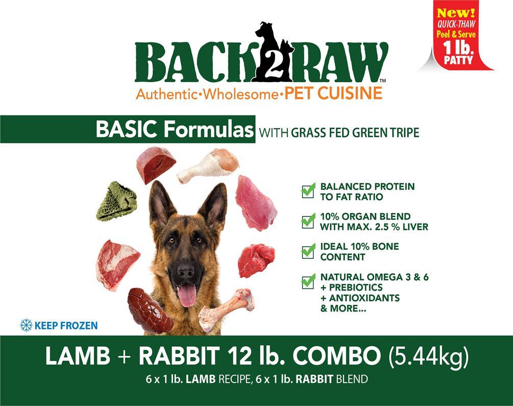 Back2Raw Basic Combo Formula Lamb Recipe & Rabbit Blend Frozen Dog Food, 12-lb
