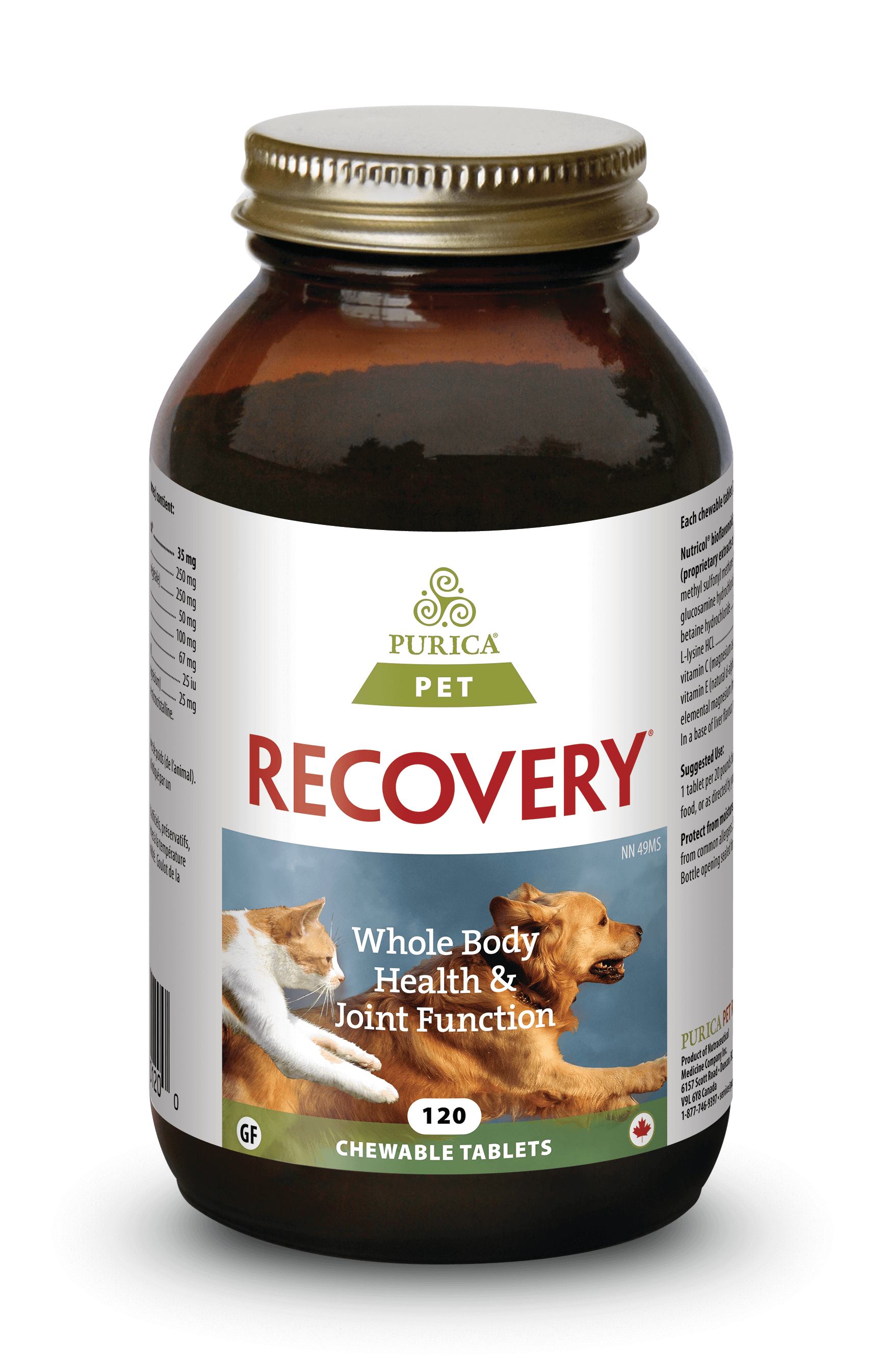 Purica Recovery Chewable Tablets Dog & Cat Supplement, 120-count
