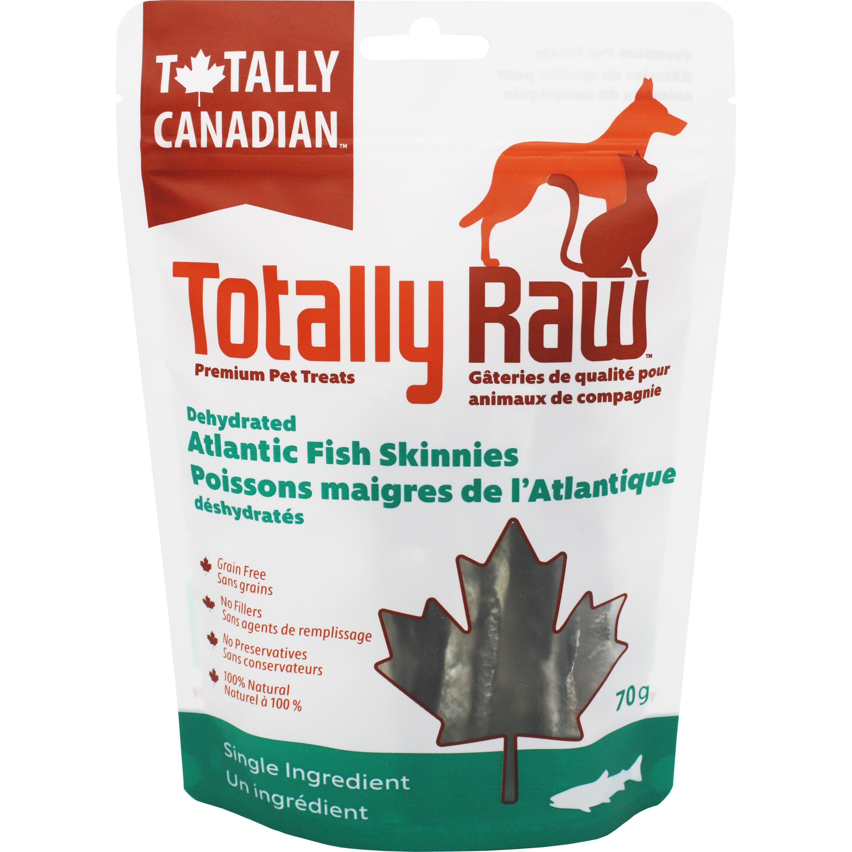 Totally Raw Pet Food Atlantic Fish Skinnies Dehydrated Dog Treats, 70-gram