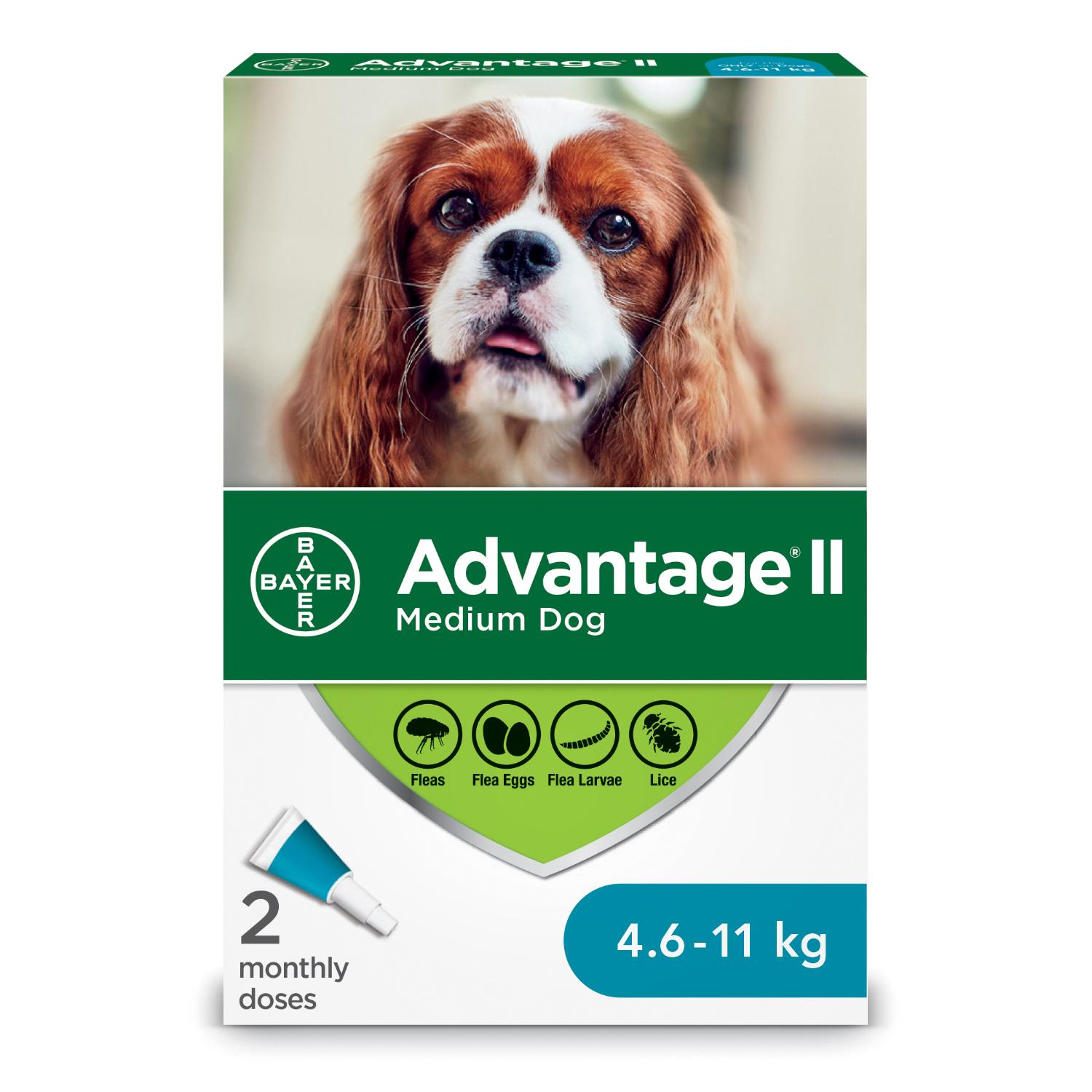 Bayer Advantage II Flea Protection for Medium Dogs 4.6-11-kg, 2-pk