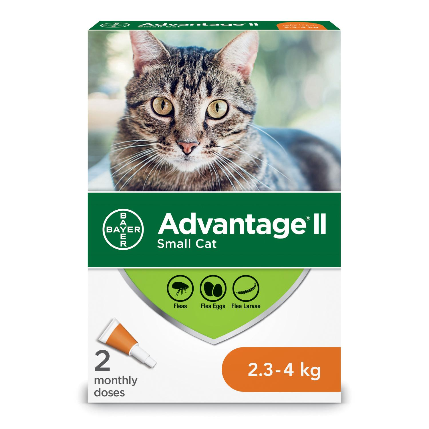 Bayer Advantage II Flea Protection for Small Cats 2.3-4-kg, 2-pk
