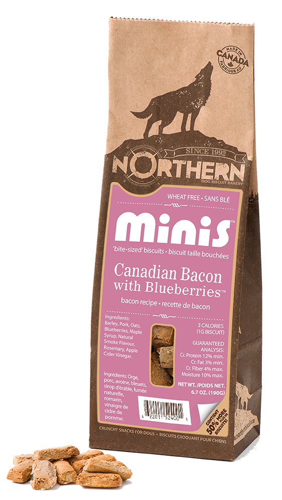 Northern Biscuit Canadian Bacon with Blueberries Minis Dog Treats, 190-gram