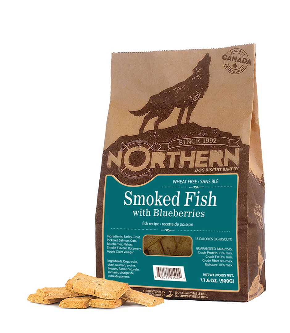 Northern Biscuit Smoked Fish with Blueberries Dog Treats, 500-gram