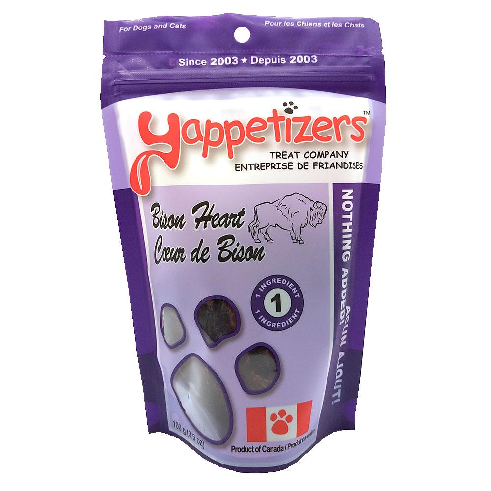 Yappetizers Bison Heart Dog & Cat Treats, 100-gram