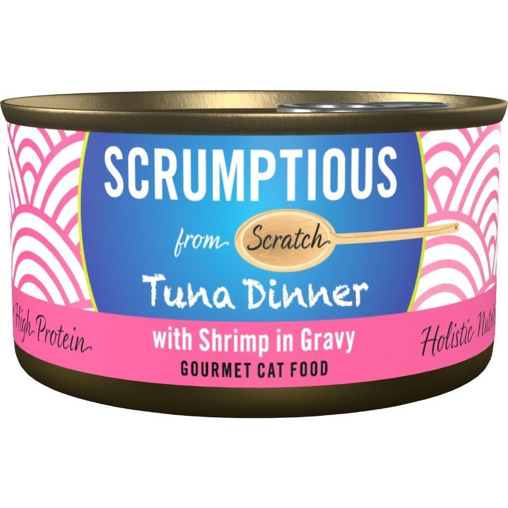 Scrumptious Gourmet Tuna Dinner with Shrimp in Gravy Wet Cat Food, 2.8 oz