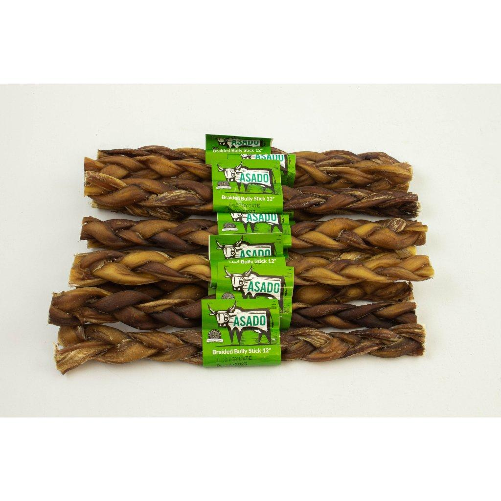 Silver Spur Asado Braided Bully Stick Dog Treats, 12-in