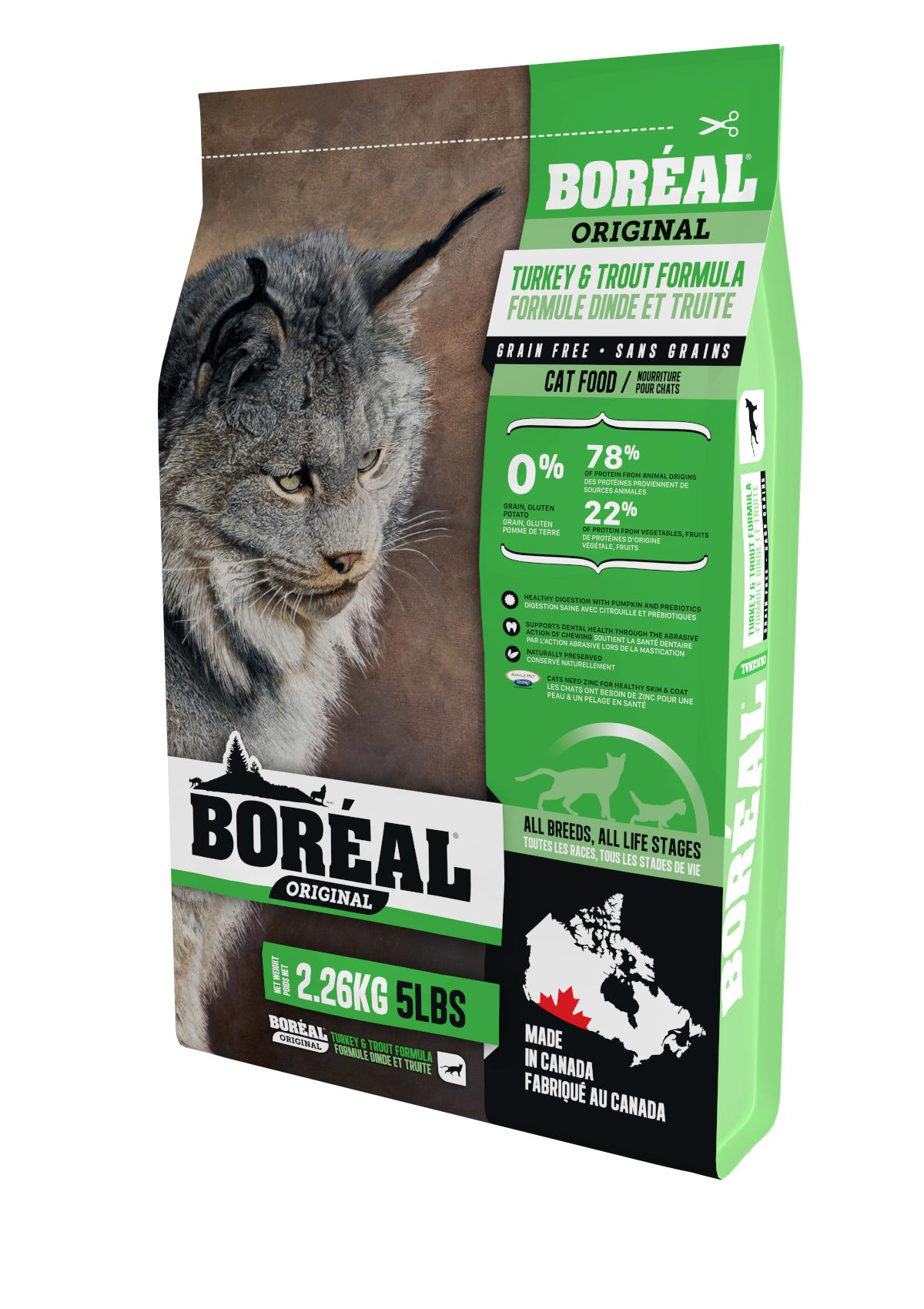 Boreal Original, All Breeds, Turkey and Trout Formula Dry Cat Food, 2.26kg
