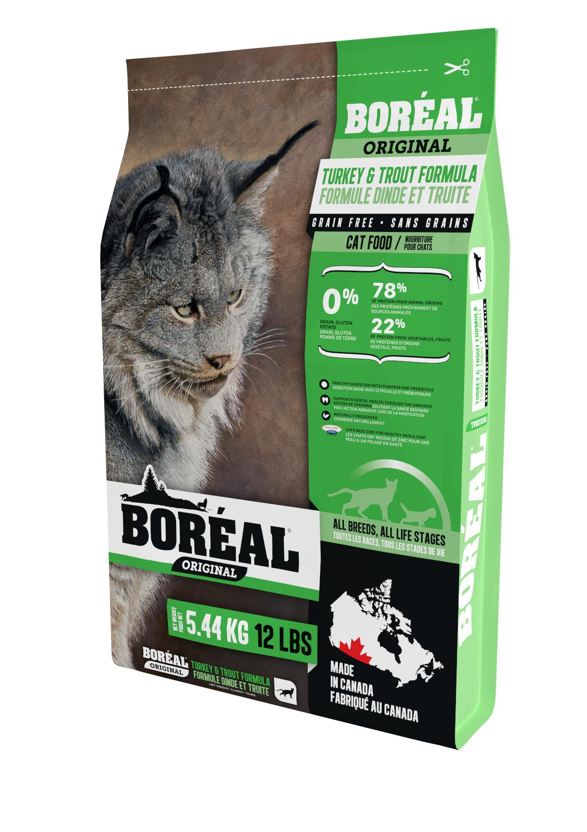 Boreal Original, All Breeds, Turkey and Trout Formula Dry Cat Food, 5.44kg