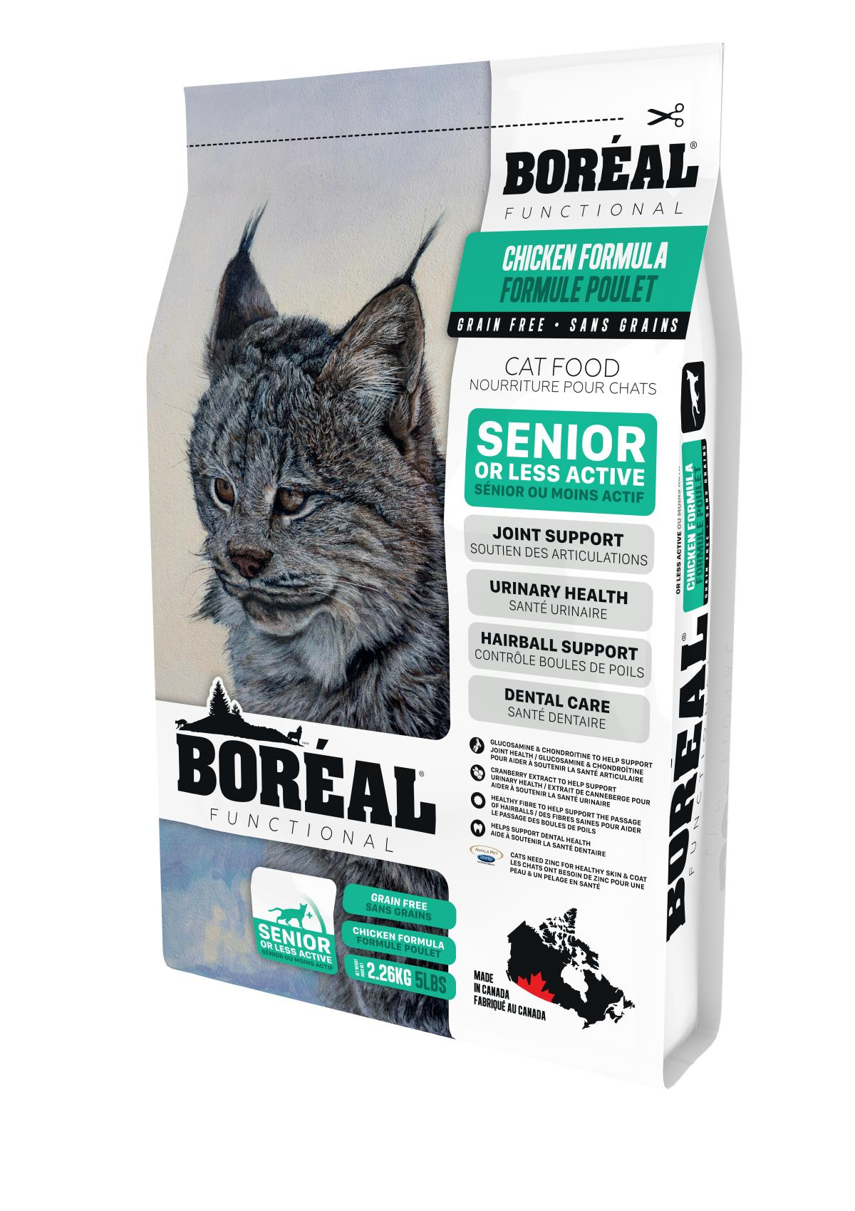 Boreal Functional, Senior and Less Active, All Breeds, Chicken Formula Dry Cat Food, 2.26kg