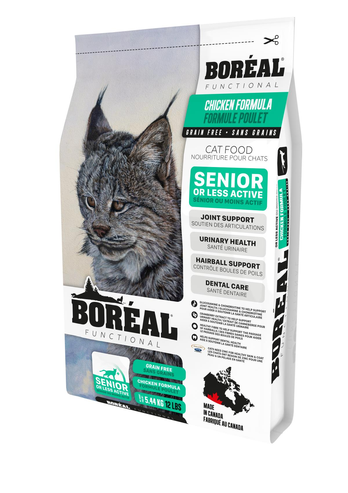 Boreal Functional, Senior and Less Active, All Breeds, Chicken Formula Dry Cat Food, 5.44kg