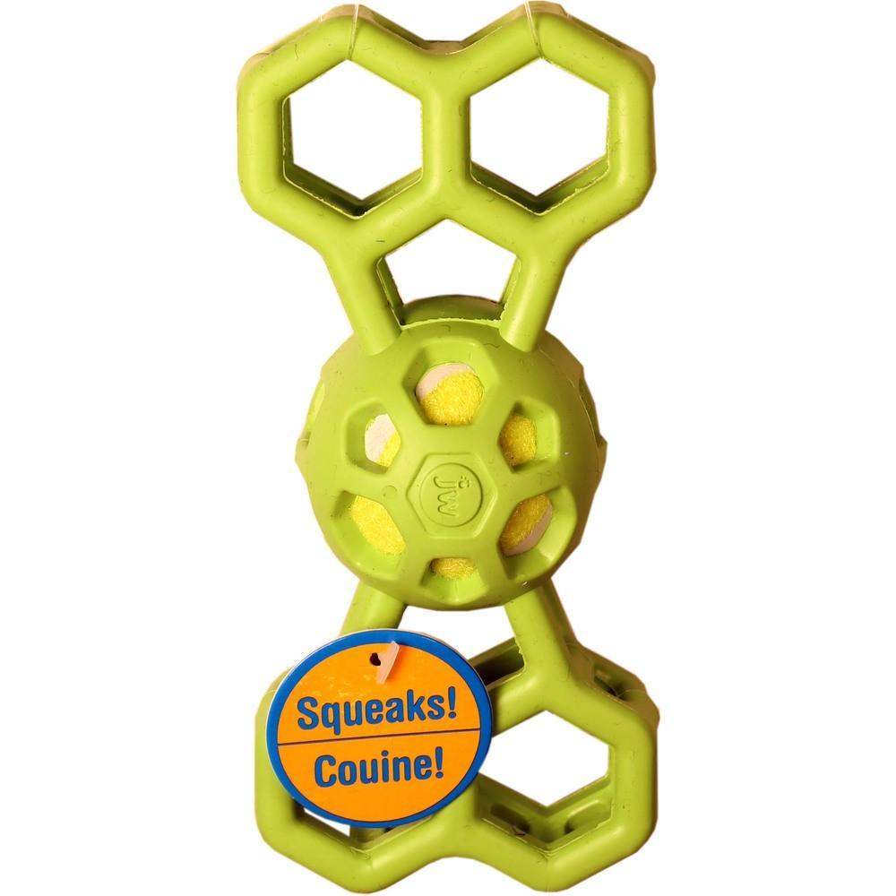 JW Pet Hol-ee Bone with Squeaker Dog Toy, Color Varies, Medium