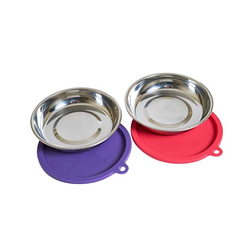 Messy Mutts Cat Bowls and Covers, 2-pack