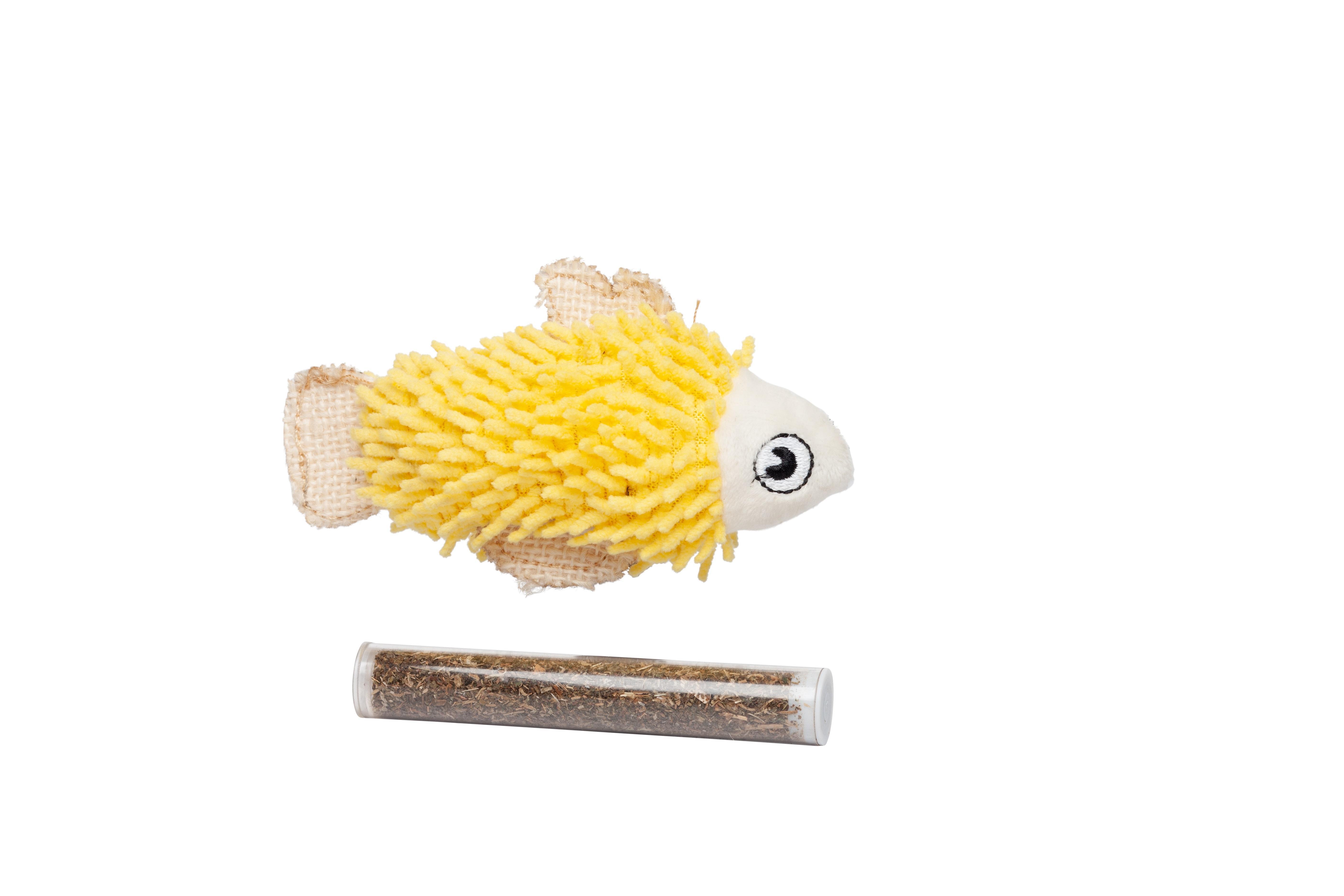 Bud'z Fish Catnip Cat Toy, Yellow, 11.43-cm