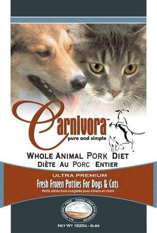 Carnivora Whole Animal Pork Diet Frozen Cat & Dog Food, 4-lb