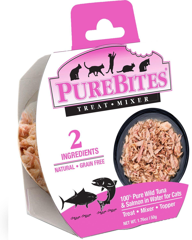 PureBites Mixers 100% Tuna & Salmon in Water Grain-Free Cat Food Trays, 1.76-oz