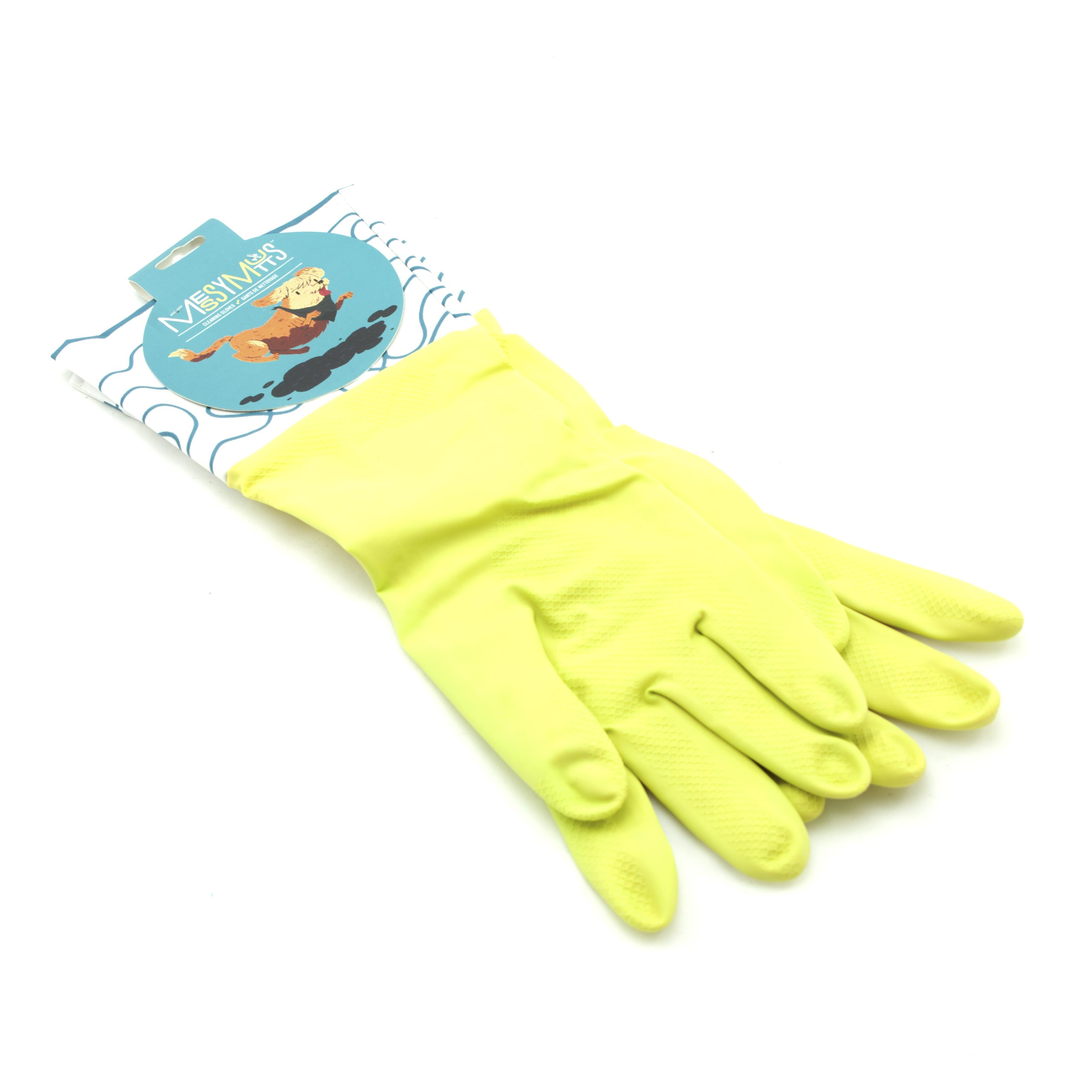 Messy Mutts Cotton Lined Rubber Washing Gloves, Green, Large