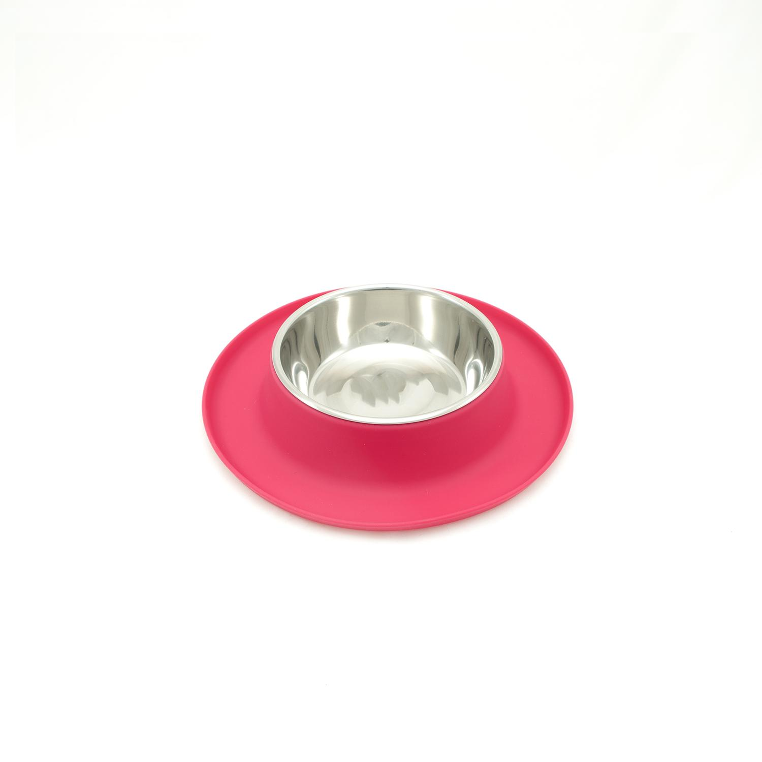 Messy Cats Single Silicone Feeder with Stainless Saucer Shaped Bowl, Watermelon
